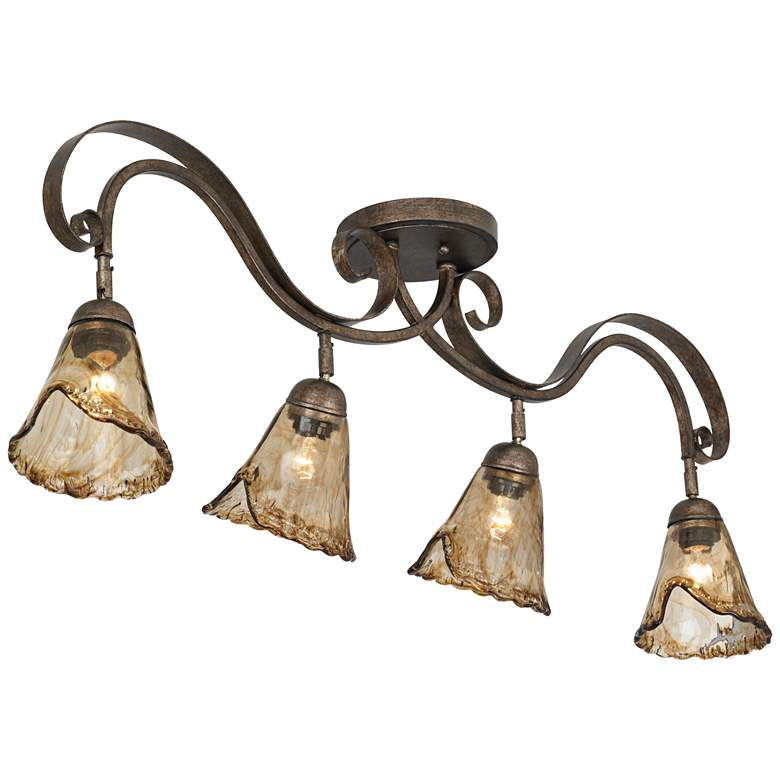 Organic Amber Glass 4-Light Ceiling Track Fixture more views