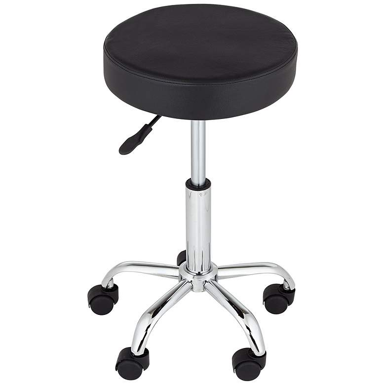 Kelly Rolling Chrome Adjustable Swivel Office Stool more views