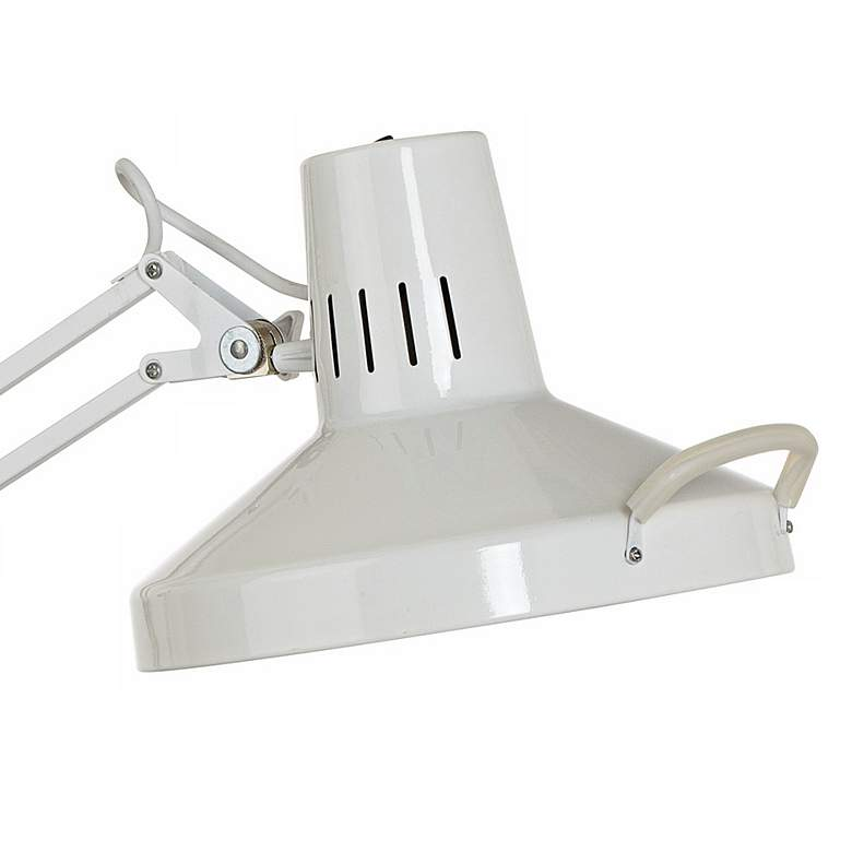 Architect Style White Metal Clamp-On Adjustable Desk Lamp more views