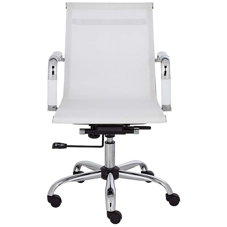 Lealand White and Chrome Low Back Desk Chair more views