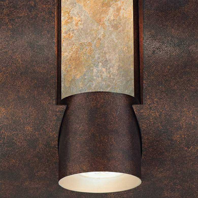 "Framed Slate 12"" High Bronze 3-Light Outdoor Wall Light more views"