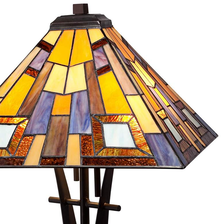 Jewel Tone Tiffany Style Art Glass Iron Base Table Lamp more views