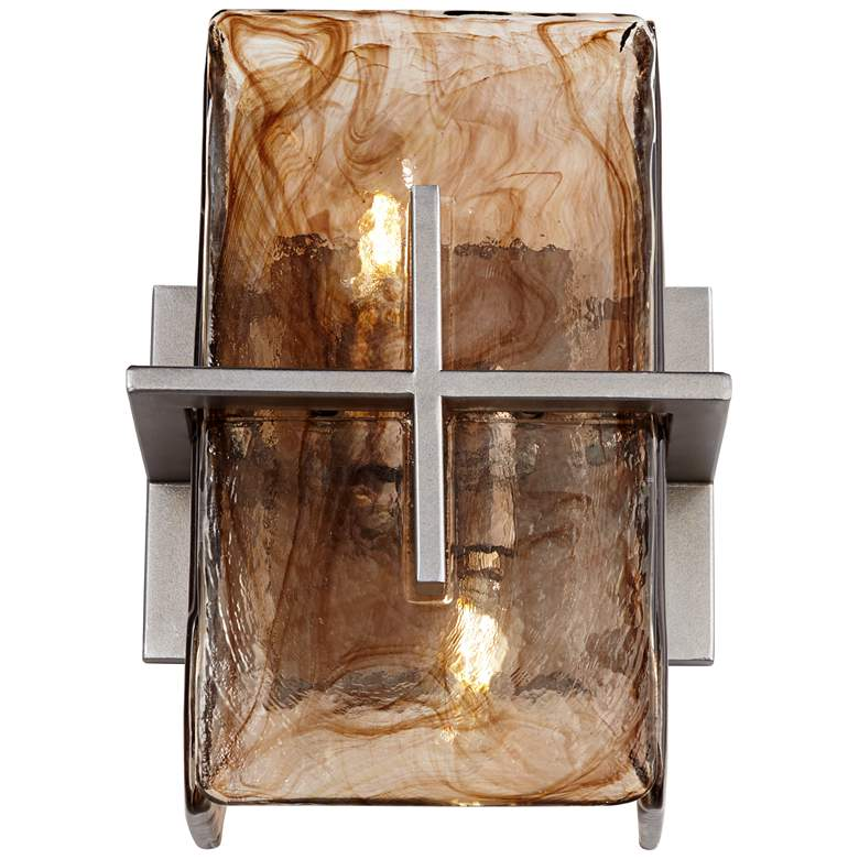 "Carlyn Bronze Gold Art Glass 8"" Wide 2-Light Wall Sconce more views"