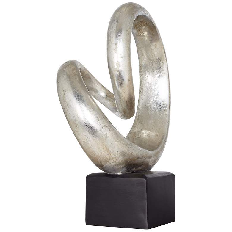 "Silver Slanted Spiral 16"" High Sculpture more views"