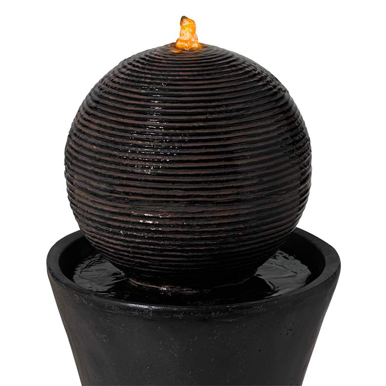 "Dark Sphere 35 1/2"" High Modern Pillar Bubbler Fountain more views"