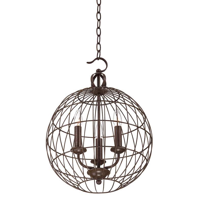 "Industrial Candelabra 3-Light 15"" Wide Cage Pendant Light more views"