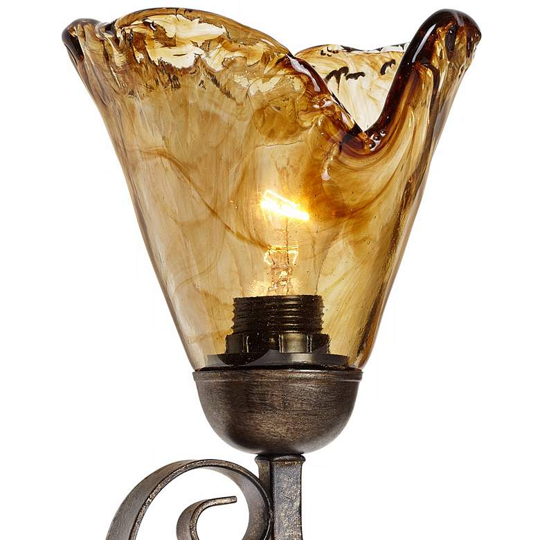 "Amber Scroll 29 1/2"" Wide Art Glass and Bronze Bath Light more views"