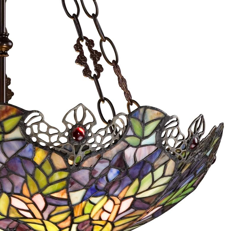 Floral Garden 3 Light Tiffany Glass Bowl Pendant W3007