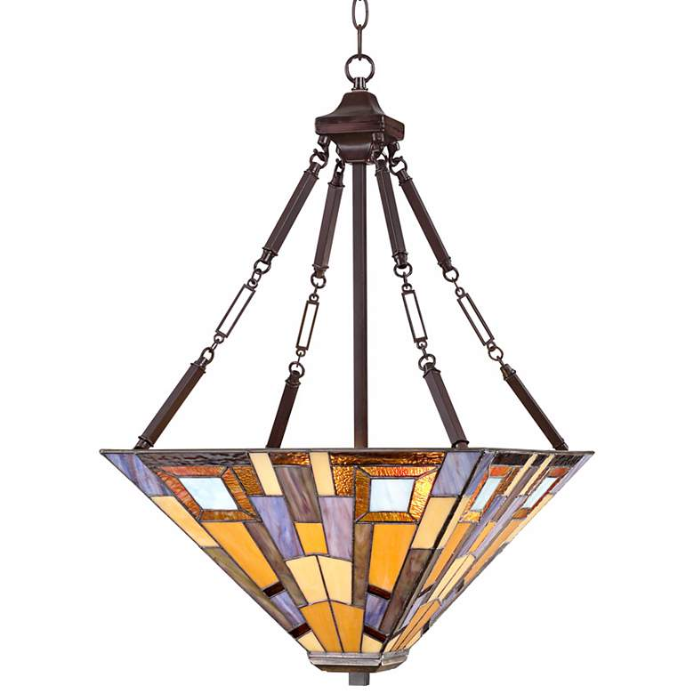 "Jewel Tone 17"" Wide Tiffany Style Pendant Light more views"