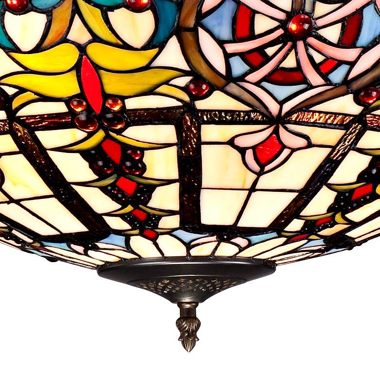 "Ornamental Tiffany-Style 24"" Wide Art Glass Pendant Light more views"