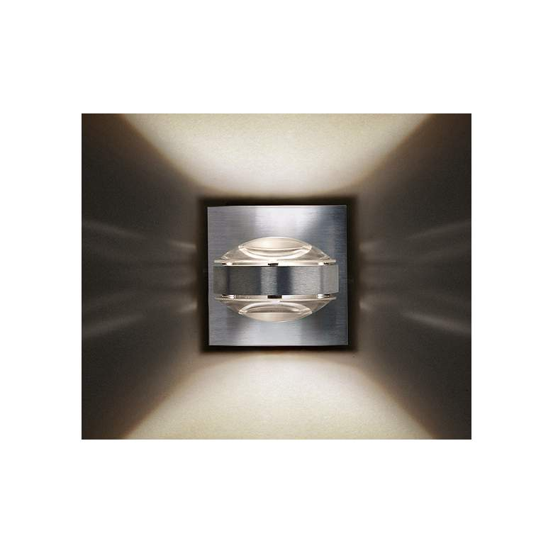 "Besa Optos 3 1/2"" Wide Aluminum Clear Glass Wall Sconce more views"
