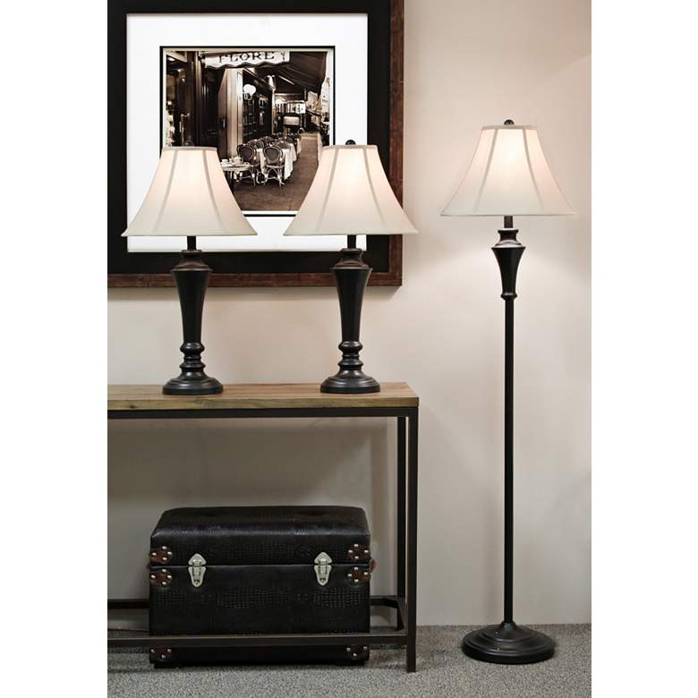 Orick Bronze Metal Floor and Table Lamps Set of 3 more views