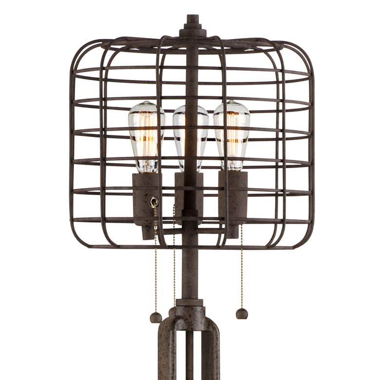 Industrial Cage Bronze Floor Lamp with Edison LED Bulbs more views