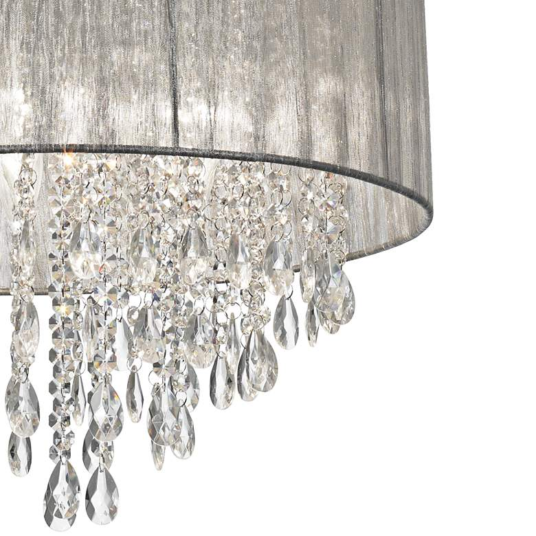 "Possini Euro Jolie 20""W Silver Fabric Crystal Chandelier more views"