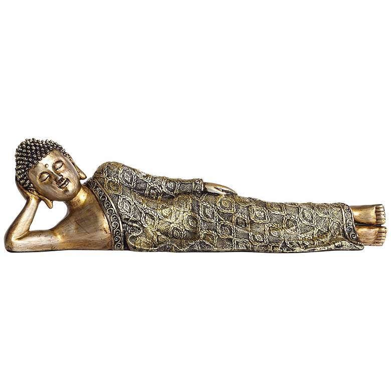 "Jeweled and Gold 18"" Wide Reclining Buddha Sculpture more views"