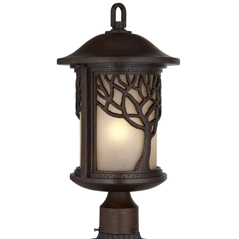 "Mission Style Oak Tree 18 3/4"" High Bronze Finish Post Light more views"