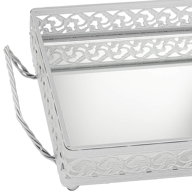 "Alexis 18 1/2"" Wide Silver Mirror Vanity Table Tray more views"