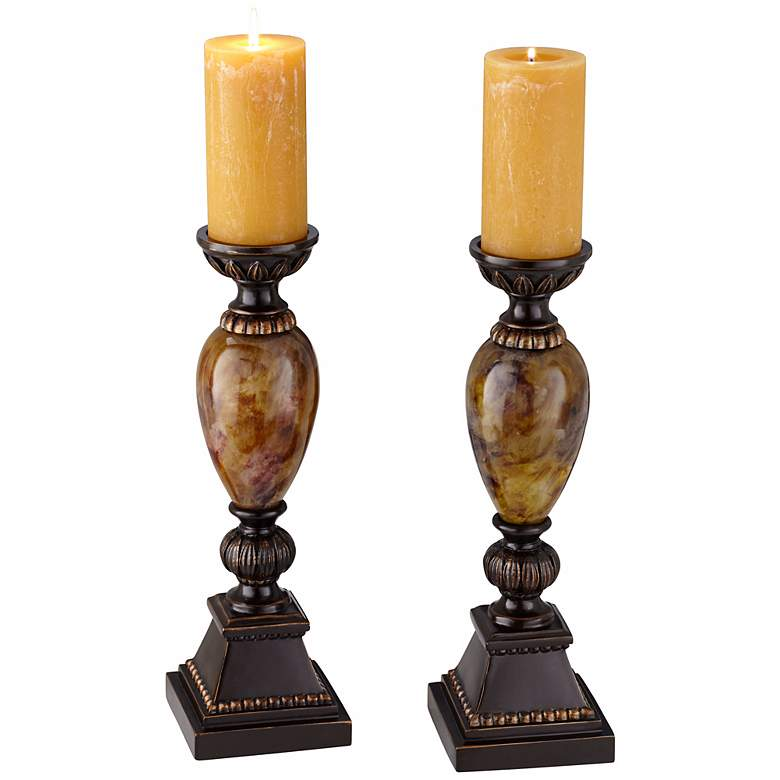 "Kathy Ireland Mulholland 16""H Pillar Candle Holders Set of 2 more views"