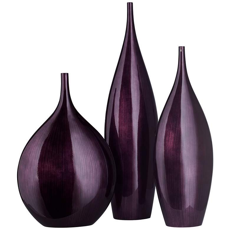 Small Dark Plum Purple Line Bottle Vase more views