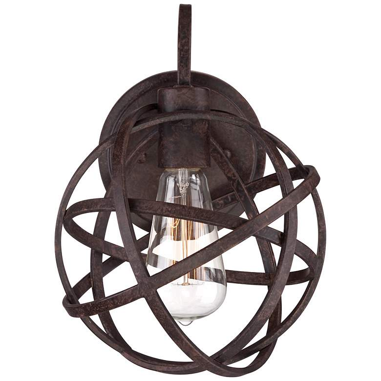 "Industrial Atom 11"" High Edison Bronze Wall Sconce more views"
