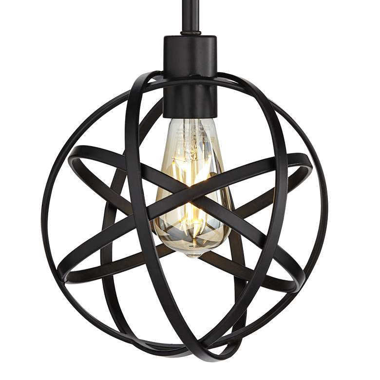 "Industrial Atom 8"" Wide LED Edison Bulb Mini-Pendant Light more views"