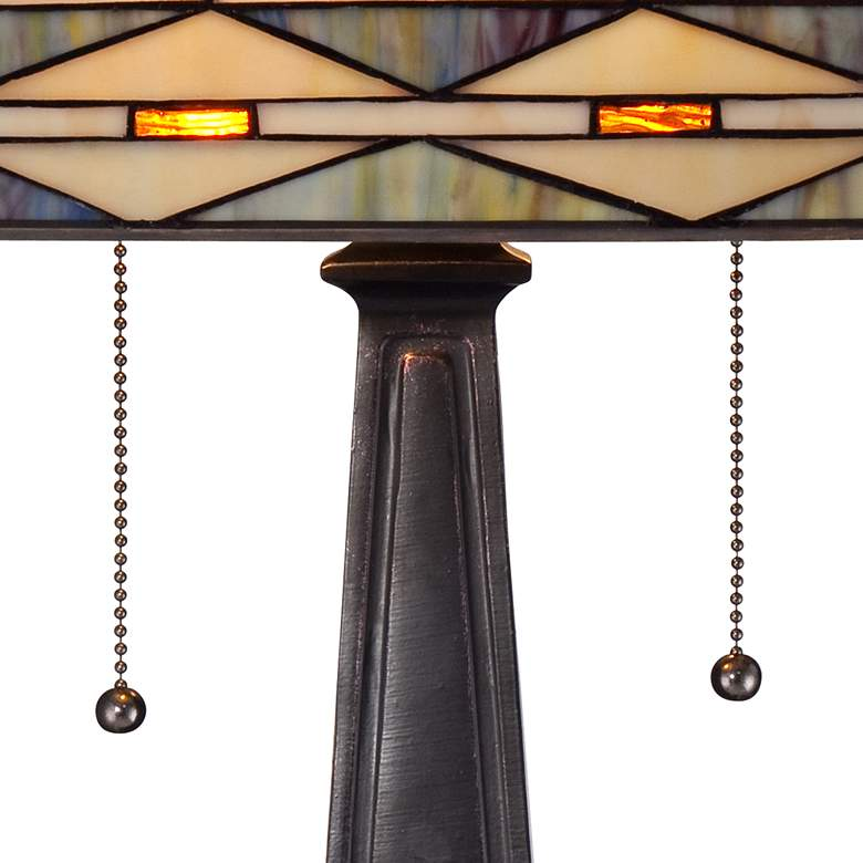 Mission Square Art Glass and Bronze Table Lamp more views