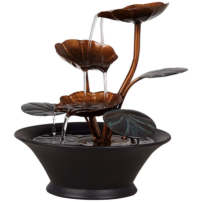 "Alvera Metal Leaves 9 1/2"" High Indoor Table Fountain more views"