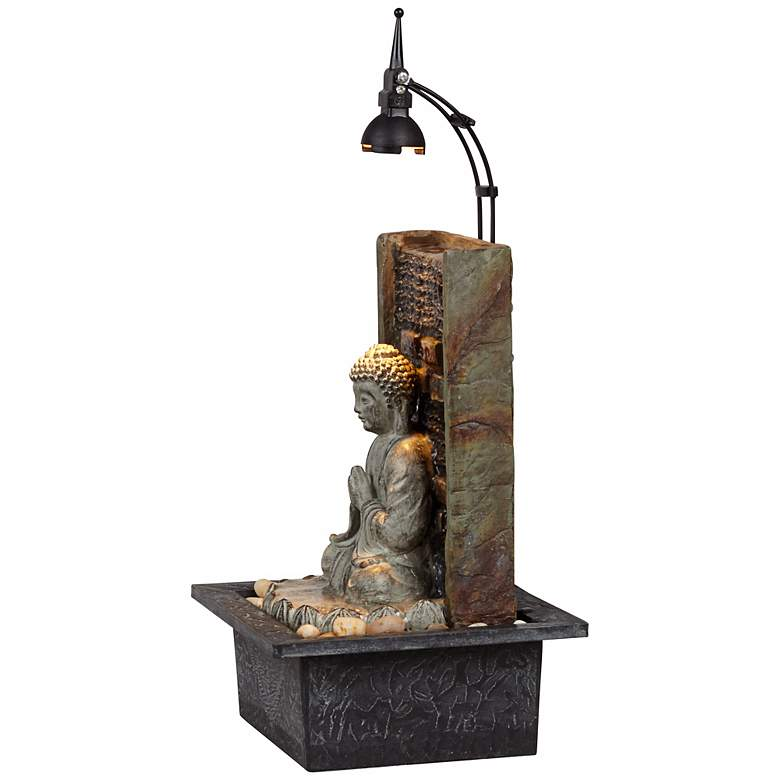 "Namaste Buddha 11 1/2"" High Indoor Table Fountain more views"