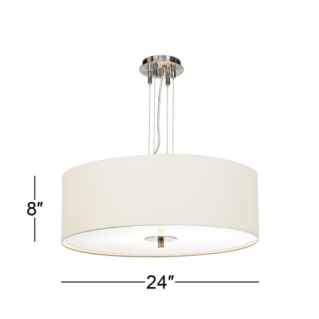 "White Four Light 24"" Wide Pendant Chandelier"