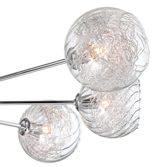 "Possini Euro Wired 38"" Wide Glass and Chrome Ceiling Light"