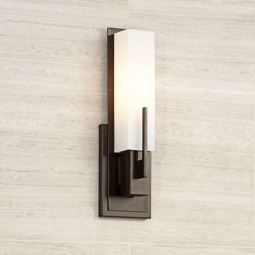 "Possini Euro Midtown 15"" High White Glass Bronze Wall Sconce"